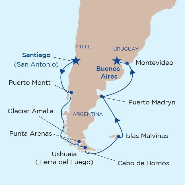 Mapa itinerario Patagonia y Fiordos Chilenos 2019. Princess Cruises