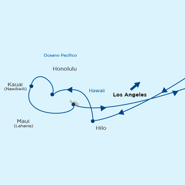 Mapa itinerario Princess: Hawaii desde Los Angeles