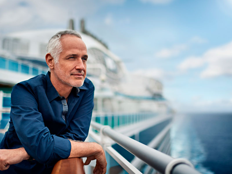 Huésped en la cubierta del crucero Princess